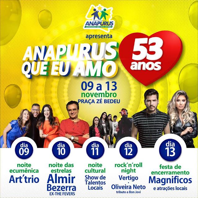 Veja a programação do aniversário de Anapurus nos dias 10 a 13 de Novembro.