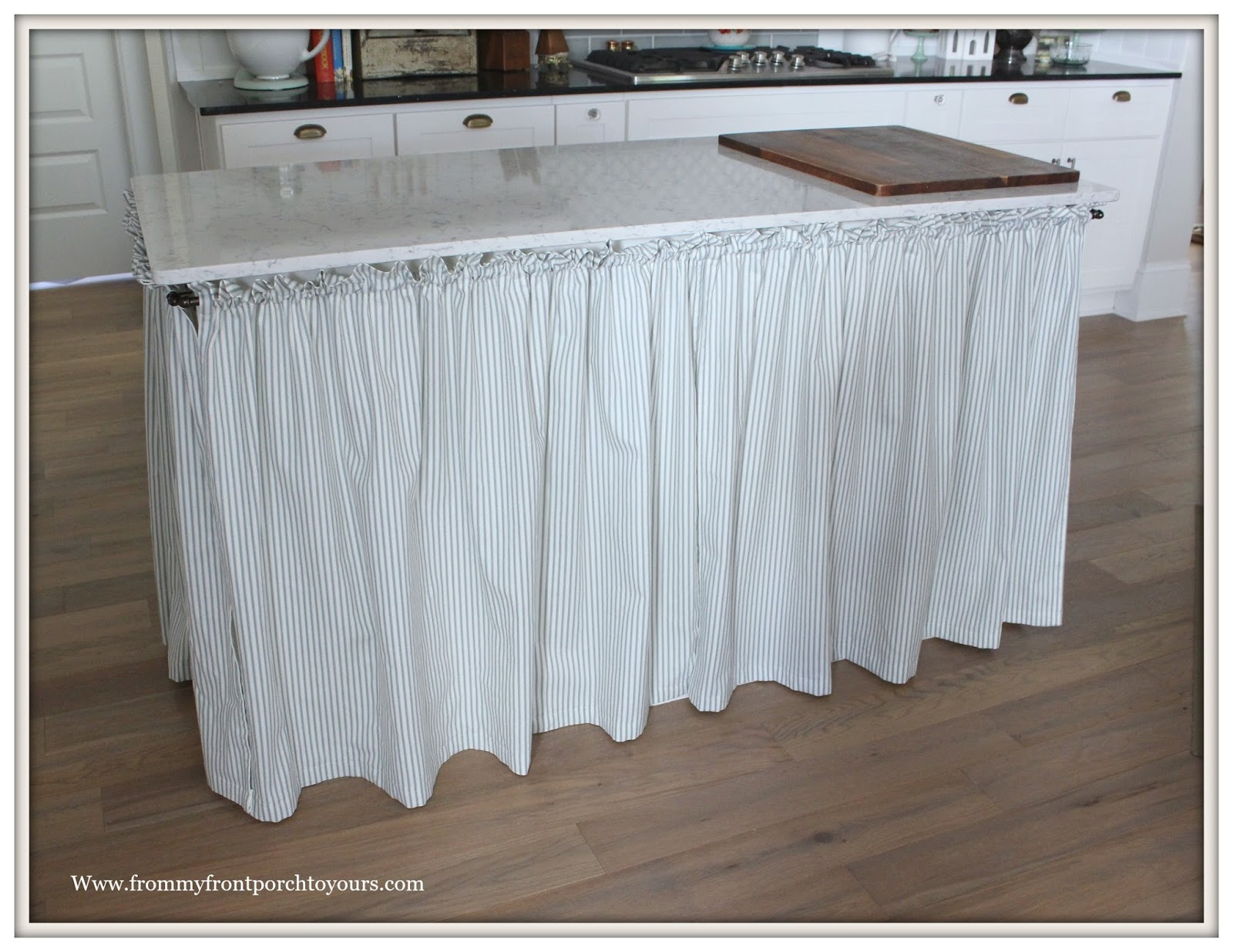 DIY Skirted Kitchen Island Ticking Stripe Fabric Farmhouse Kitchen Island  Makeover From My