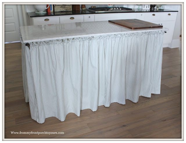 DIY Skirted Kitchen Island-Ticking Stripe Fabric-farmhouse kitchen island makeover-from my front porch to yours