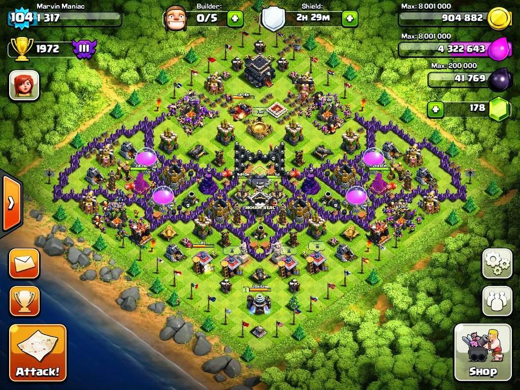 Base Coc Th 9 Bentuk Kelelawar 6