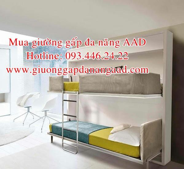 mẫu giường gấp dọc đa năng âm tường đẹp