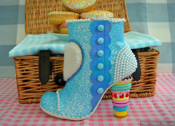 Irregular Choice Bee Delicious blue glitter ankle boot
