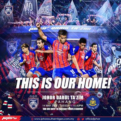 Live Streaming JDT vs Pahang Liga Super 14.5.2019.