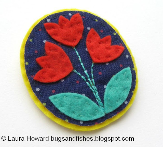 flower brooch made from felt and fabric