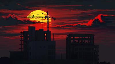 Ciudad al atardecer con sol y nubes de fondo