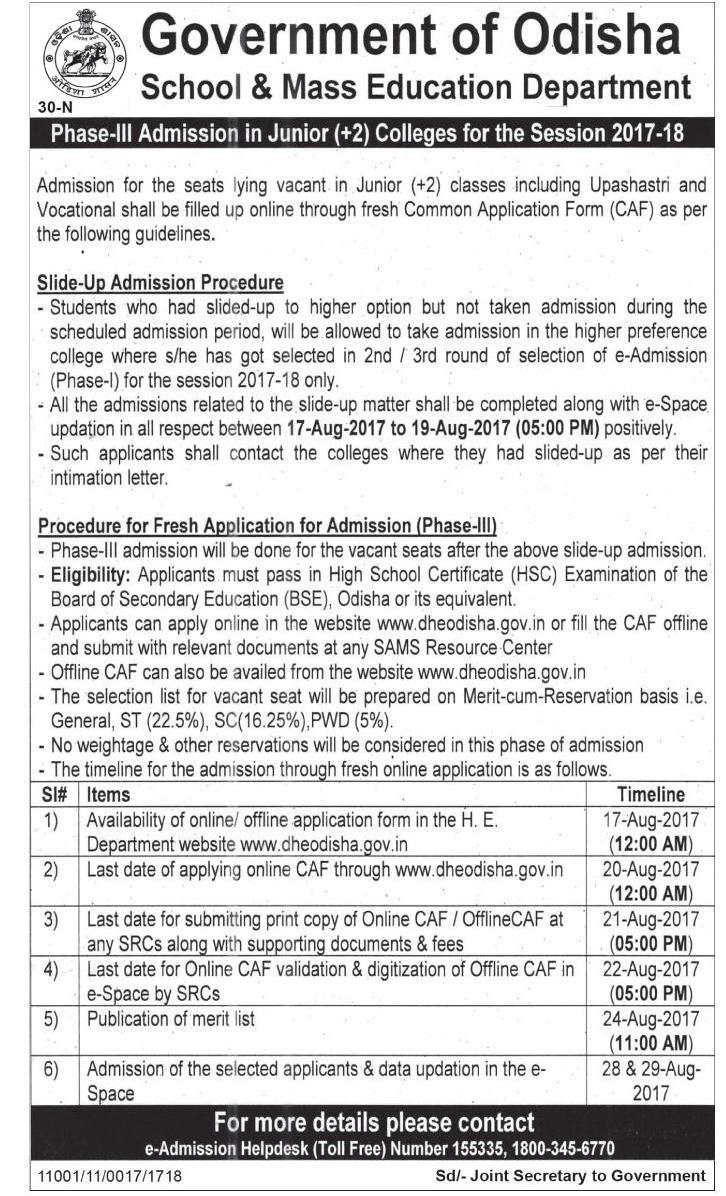 DHE Odisha Phase-III +2 Junior College Merit List 2017-18. www ... on law jobs, industry jobs, railway jobs, private sector jobs, english jobs, hr jobs, church jobs, physics jobs,
