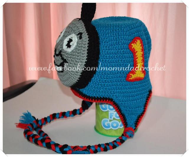 character hats, crochet hat, Thomas hat,