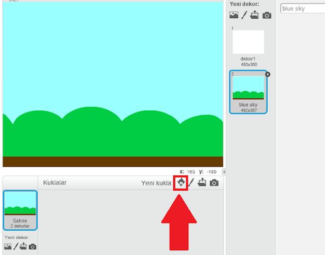 Scratch kukla ekleme alanı