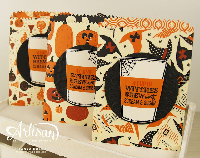 Spooky Night paper and the Merry Cafe' stamp set from Stampin' Up! make adorable treat bags! I have gotten a lot of use out of the Mini Treat Bag framelits. Tanya Boser for the Stamp Review Crew