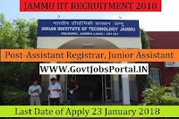 Jammu Indian Institute of Technology Recruitment 2018 – 62 Assistant Registrar, Junior Assistant