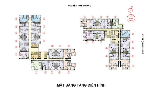 Mặt bằng tầng căn hộ điển hình Rivera Park Hà Nội