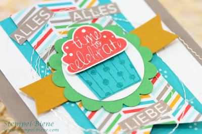 Stampin' Up Cupcake Party, Stampin Up Jahreskatalog 2015-2016, Stampin Up Recklinghausen, Stampin Up bestellen, leichte Geburtstagskarte basteln, Stempel-biene, Match the Sketch