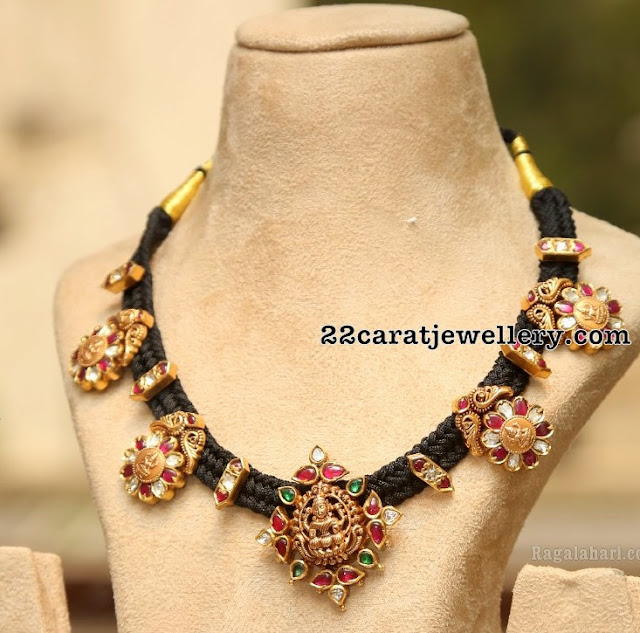 Black Thread Necklace With Lakshmi