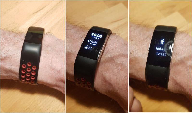 Fitbit Charge 2 mit verschiedenen Anzeigen im Display