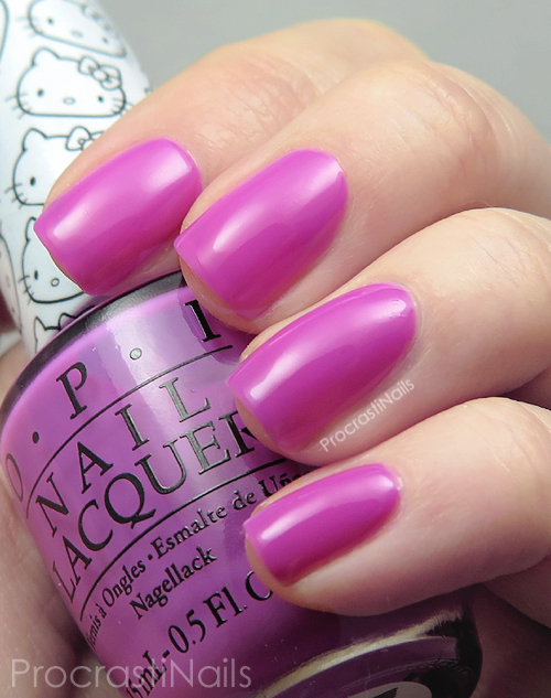 Swatch of the orchid pink OPI Super Cute in Pink nail polish