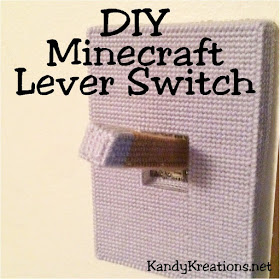 DIY Minecraft Lever Switch  Make your own DIY Minecraft lever switch to cover your light switch at home.  Add this easy switch to make a perfect Minecraft bedroom for your favorite builder using plastic canvas and this free pattern.
