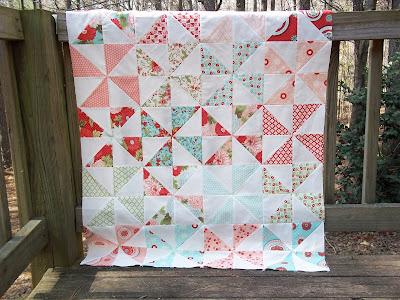 Amusing Moda three strip pinwheel quilt pattern are