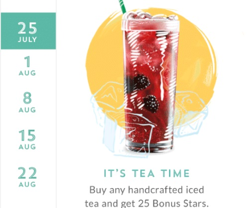 Starbucks Summer Monday 25 Bonus Stars With Iced Tea Purchase