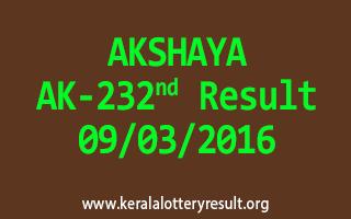AKSHAYA AK 232 Lottery Result 09-03-2016
