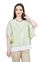 Bluza lejera alba cu fata verde D2549