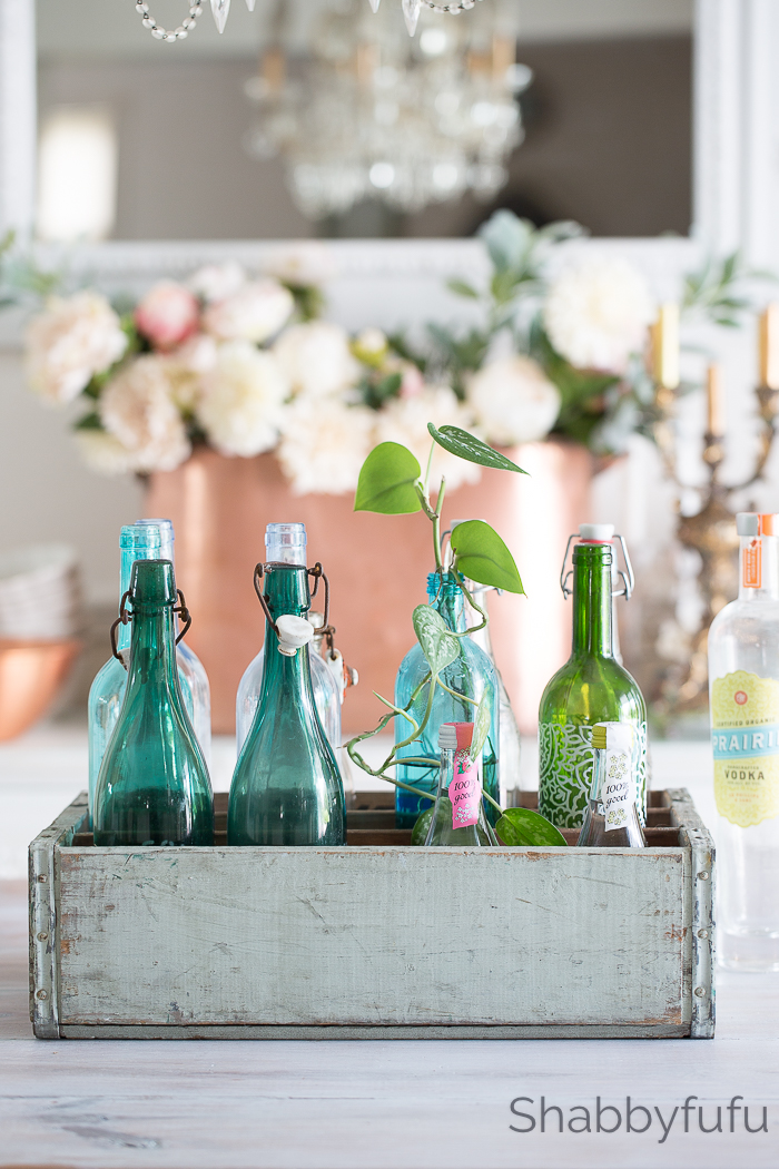 bottles and storage crates display