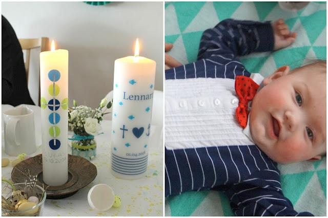 Taufkerze Outfit Taufe Junge Deko DIY Idee Geschenkidee Blumen Tischdeko Jules kleines Freudenhaus