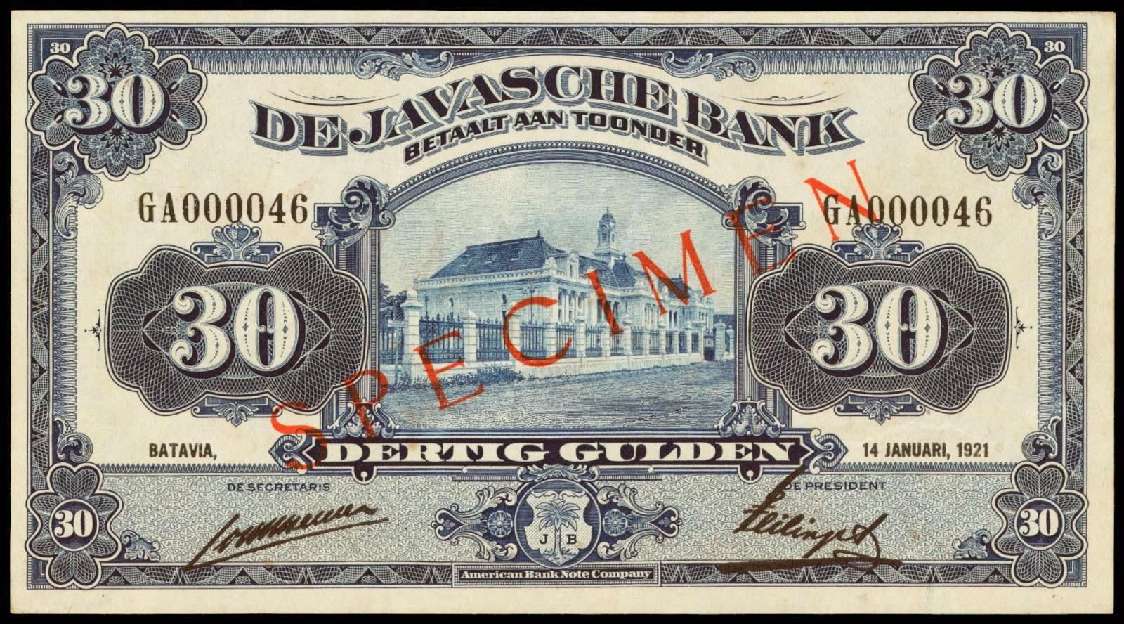 Netherlands Indies banknotes 30 Gulden note 1921 Javasche Bank