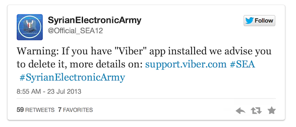 Syrian Electronic Army aka SEA Twitter Tweet