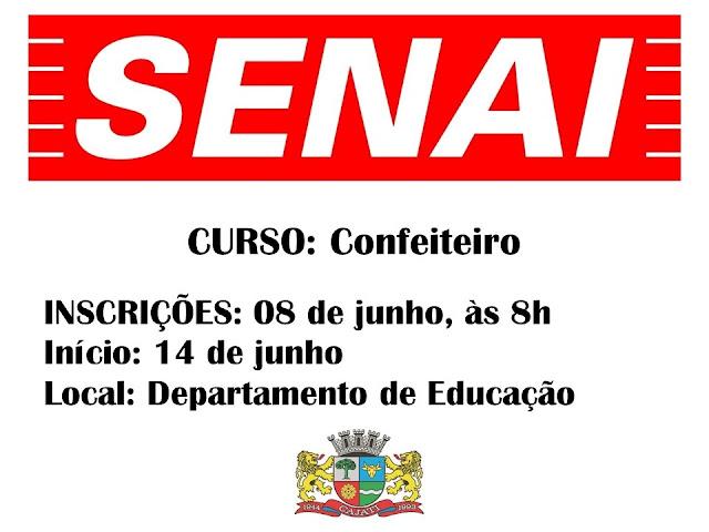 SENAI: CURSO DE CONFEITEIRO EM CAJATI