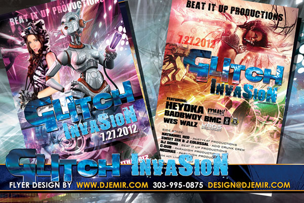 Glitch Invasion EDM Concert Flyer Design Texas