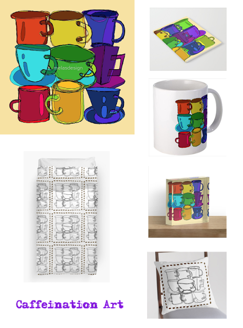 Tea Cups and Coffee Mugs Spectrum and Coffee Mugs and Beans Artwork by Melasdesign