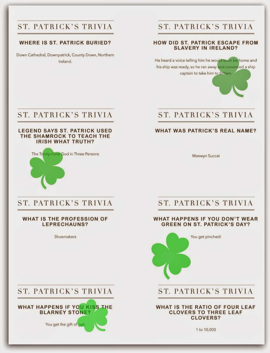 Easy Printable Trivia Questions With Answers