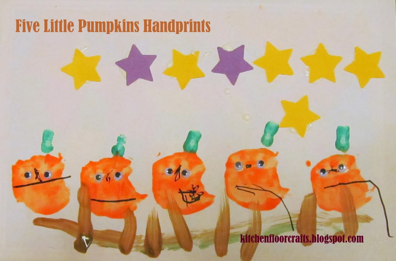 Kitchen Floor Crafts Five Little Pumpkin Handprints