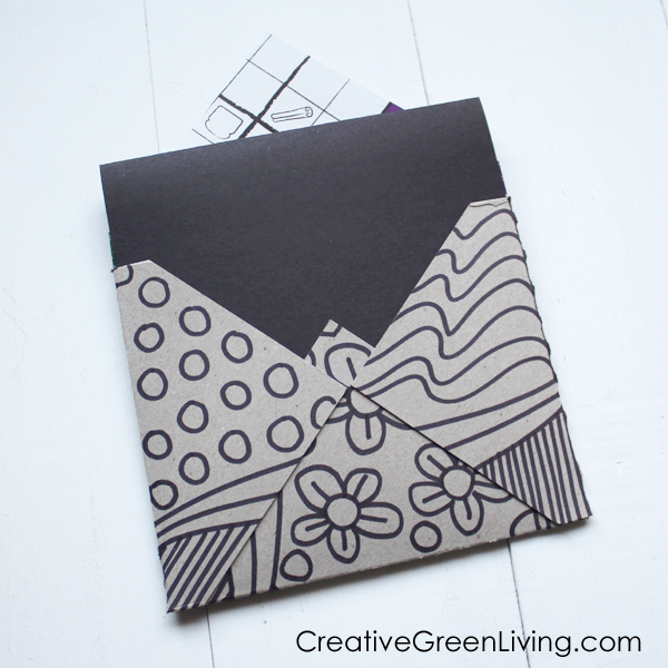 how to turn a cereal box into an envelope for a card