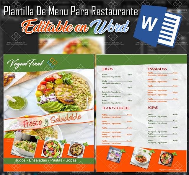 Plantilla para hacer carta de menú para restaurante editable en Word