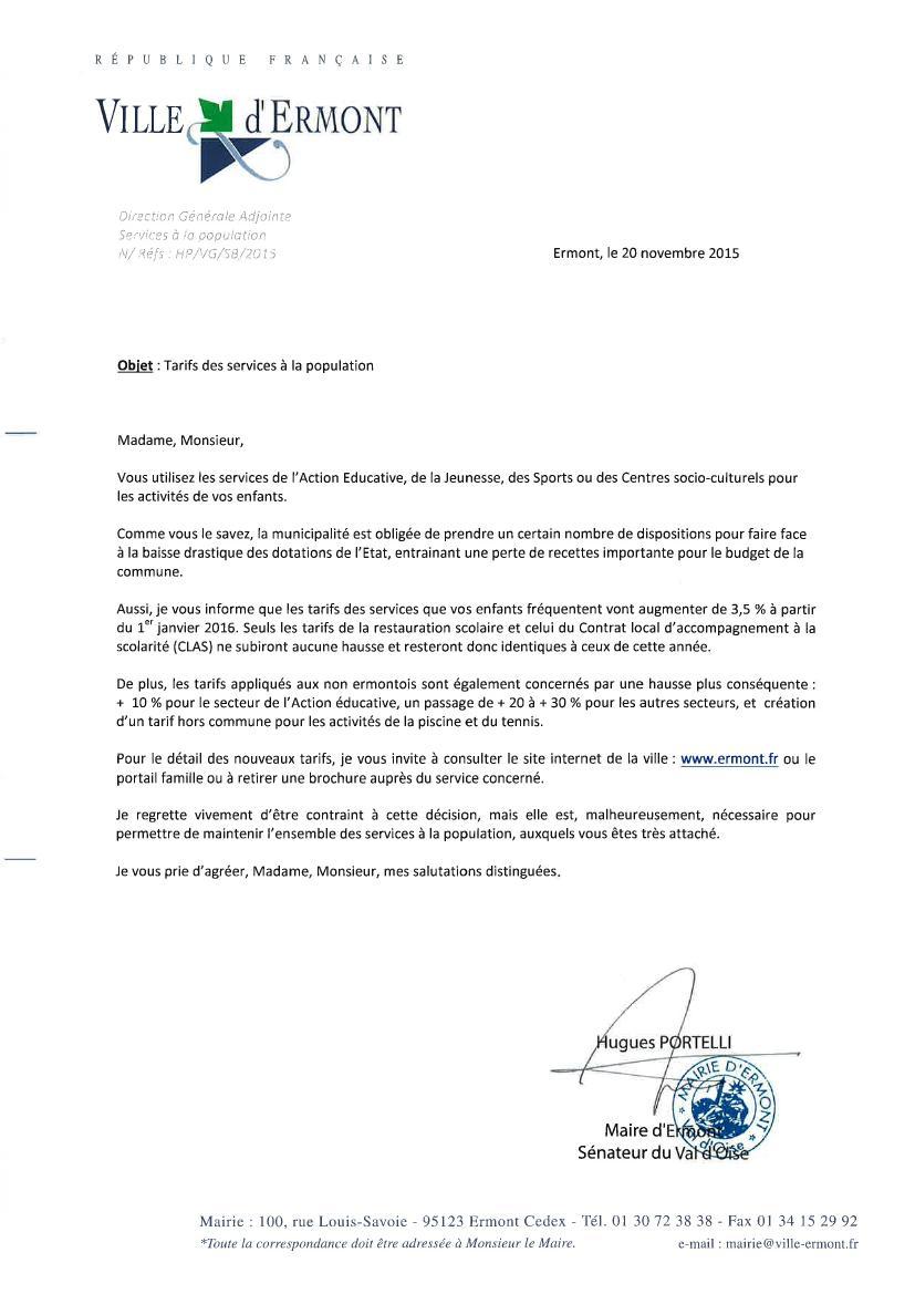 modele lettre pour augmentation de tarifs VH ENSEMBLE: Augmentation des tarifs de l'accueil de loisirs modele lettre pour augmentation de tarifs