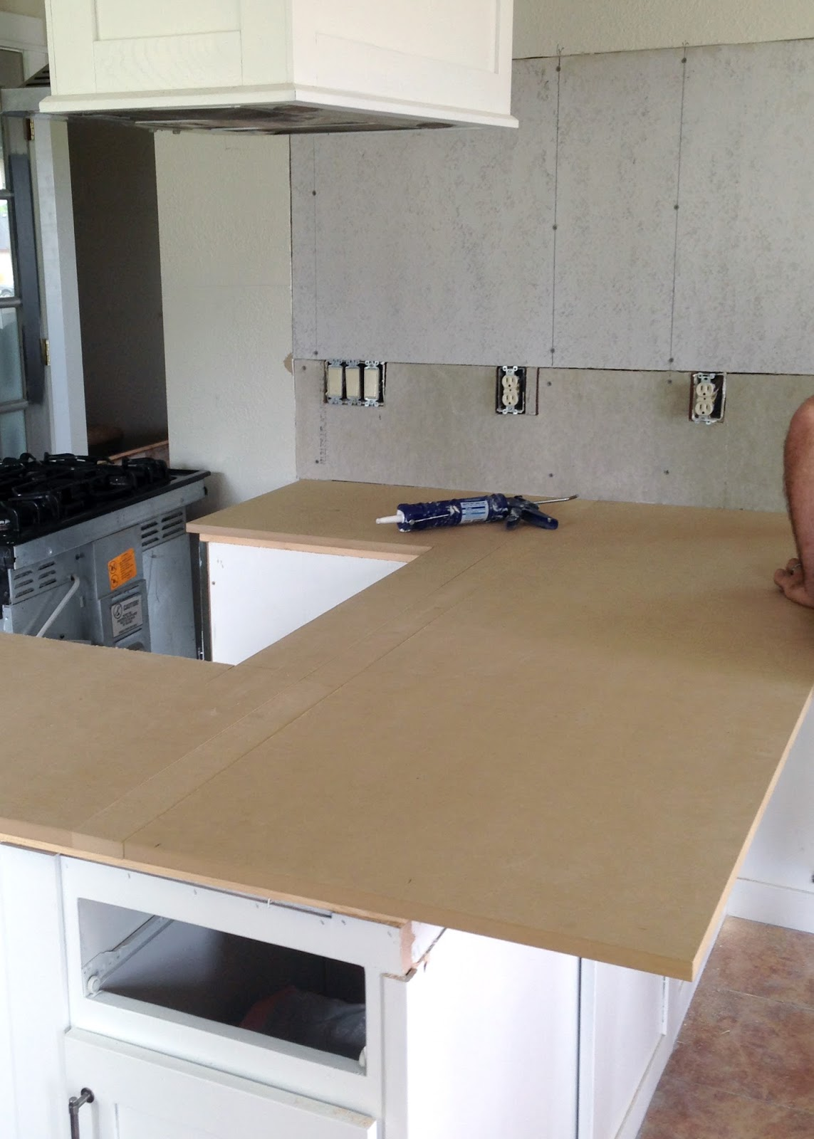 kitchen tops wood cabinet packages diy reclaimed countertop averie lane adding a layer of mdf