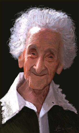 Mujer más longeva de la historia. Pintura digital. Centenarios. Segunda centena