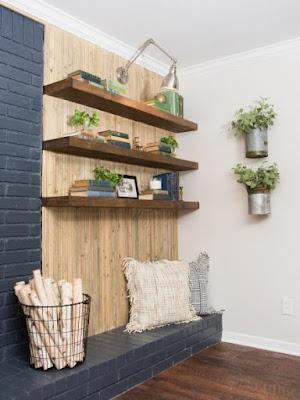 Create Vintage Looking Fireplace Background with #FixerUpper and #Weatherwood