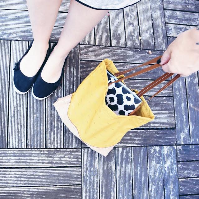 GrinseStern, in der tasche tasche, shopper, nähliebe, genäht, senfgelb, korkstoff