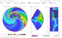 Model ISWA (NASA) ruchu CME sugeruje delikatnie, ale jednak rozminięciu wyrzutu z Ziemią. Credits: NASA