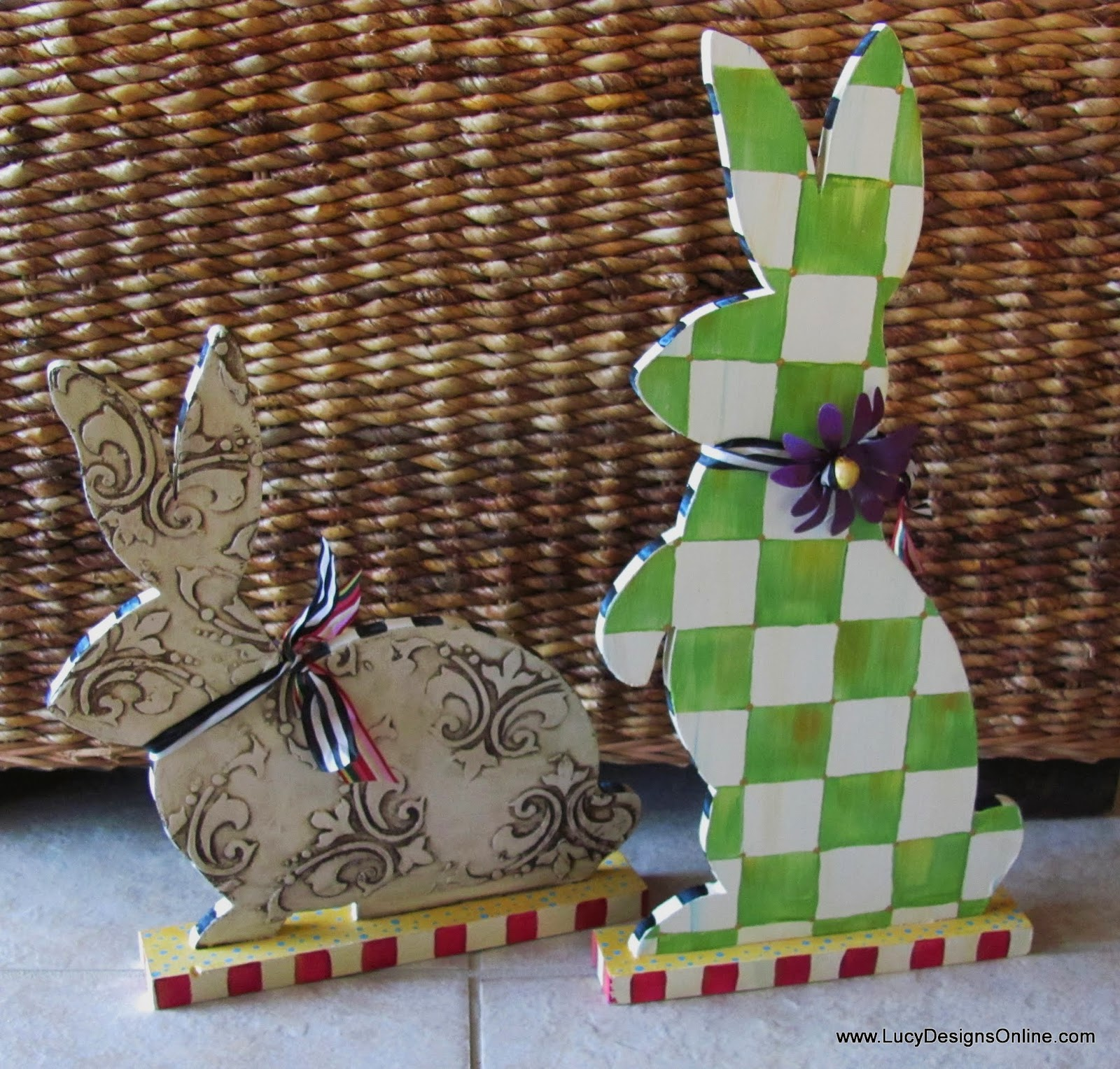 Easter bunny rabbits hand painted sculptures