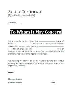 The Example Of Salary Letter Template As Follows :  Format Of Salary Certificate Letter