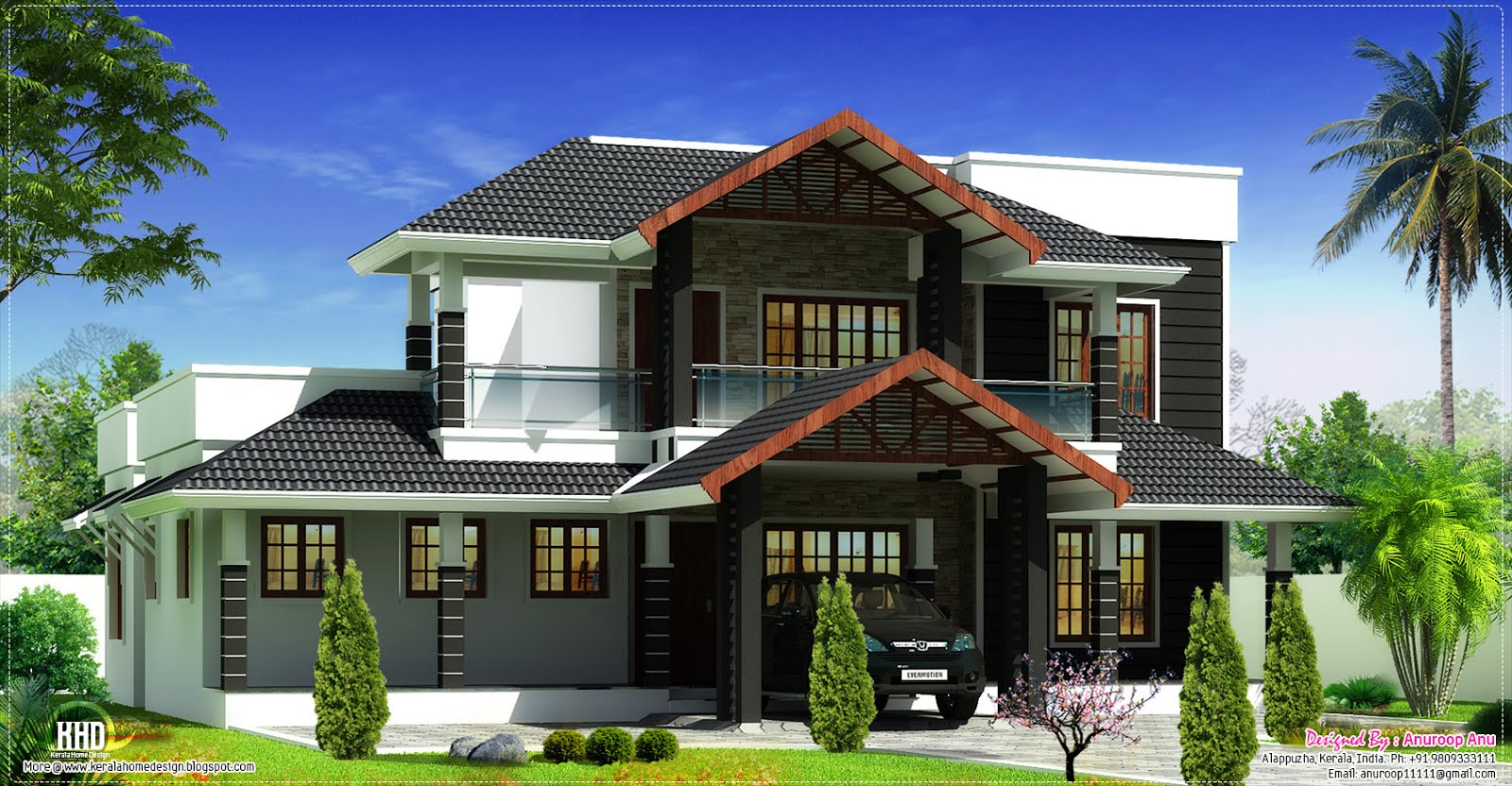 Beautiful sloping roof villa elevation design kerala for Sloped roof house plans in india