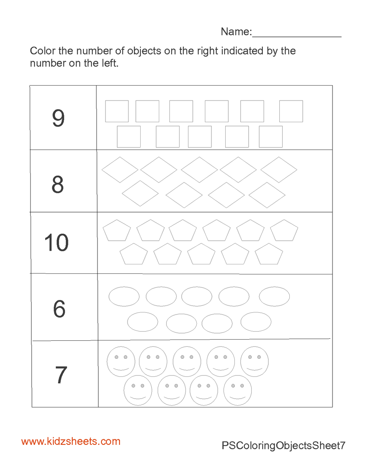 Kidz Worksheets Preschool Count Amp Color 6 10 Worksheet2
