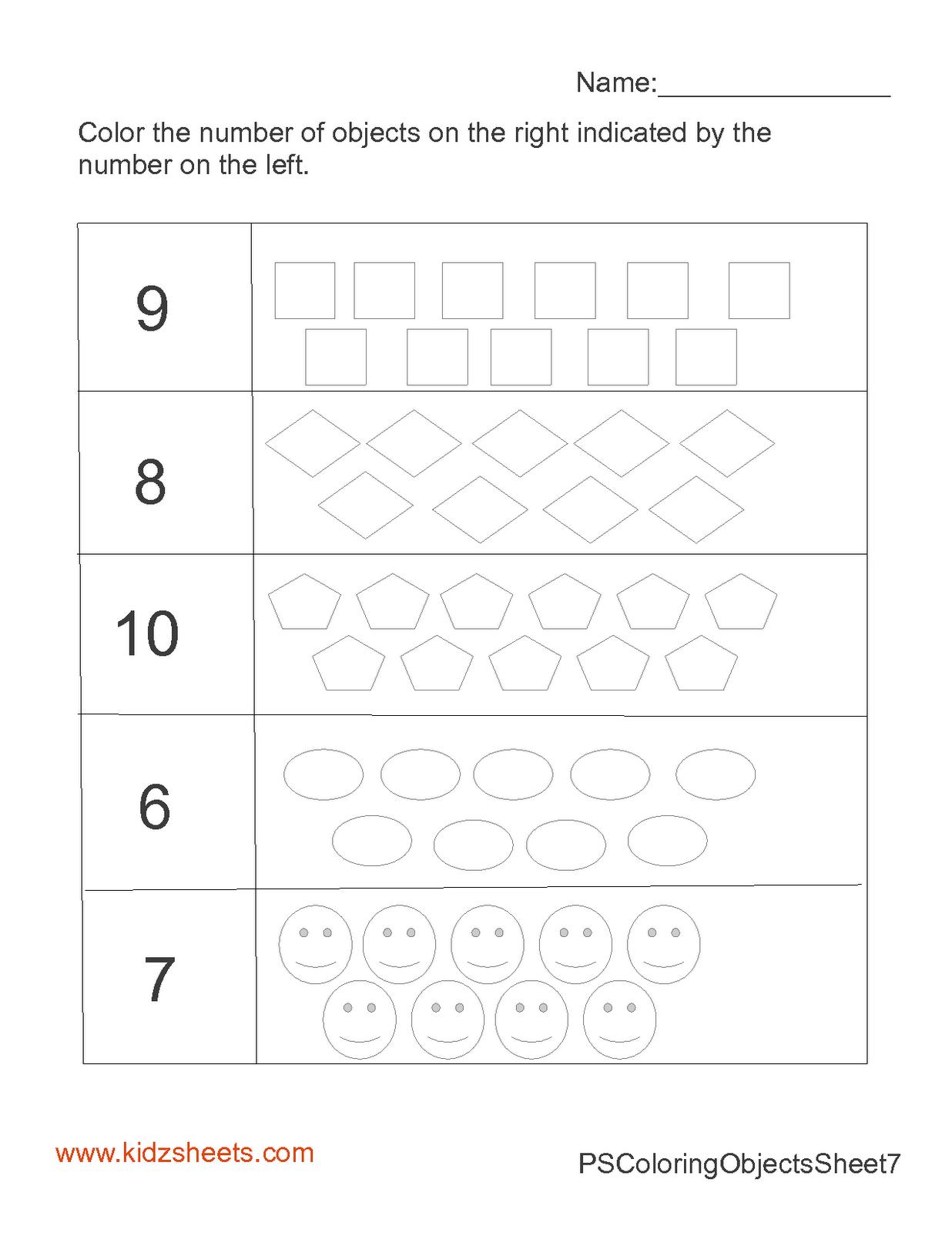 kidz worksheets preschool count color 6 10 worksheet2. Black Bedroom Furniture Sets. Home Design Ideas