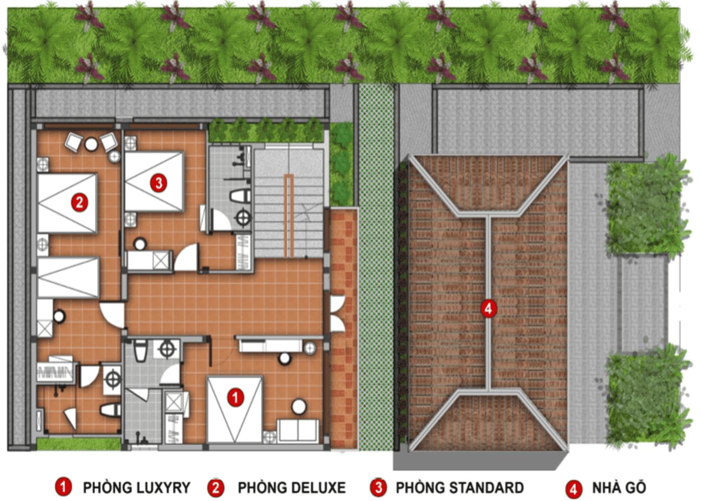 Mặt bằng lầu căn hộ Villa
