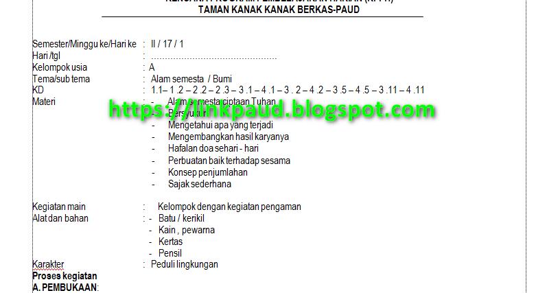 Rpph Tema Alam Semesta Usia 4 5 Tahun Semester 2 Kurikulum 2013