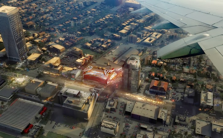 Amazing New Petersen Automotive Museum in Los Angeles from the air
