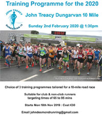 Training programmes for the 2020 Dungarvan 10 mile start Mon 18th Nov 2019